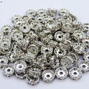 100-Czech-Crystal-Rhinestone-Pewter-Rondelle-Spacer-Beads-4mm-5mm-6mm-8mm-10mm-370892912743