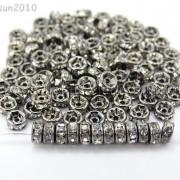 100P-Czech-Crystal-Rhinestone-Gunmetal-Rondelle-Spacer-Bead-4mm-5mm-6mm-8mm-10mm-261044024125