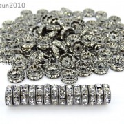 100P-Czech-Crystal-Rhinestone-Gunmetal-Rondelle-Spacer-Bead-4mm-5mm-6mm-8mm-10mm-261044024125-2