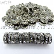 100P-Czech-Crystal-Rhinestone-Gunmetal-Rondelle-Spacer-Bead-4mm-5mm-6mm-8mm-10mm-261044024125-3