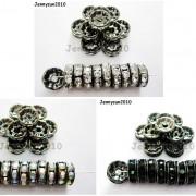 100P-Czech-Crystal-Rhinestone-Gunmetal-Rondelle-Spacer-Bead-4mm-5mm-6mm-8mm-10mm-261044024125-6