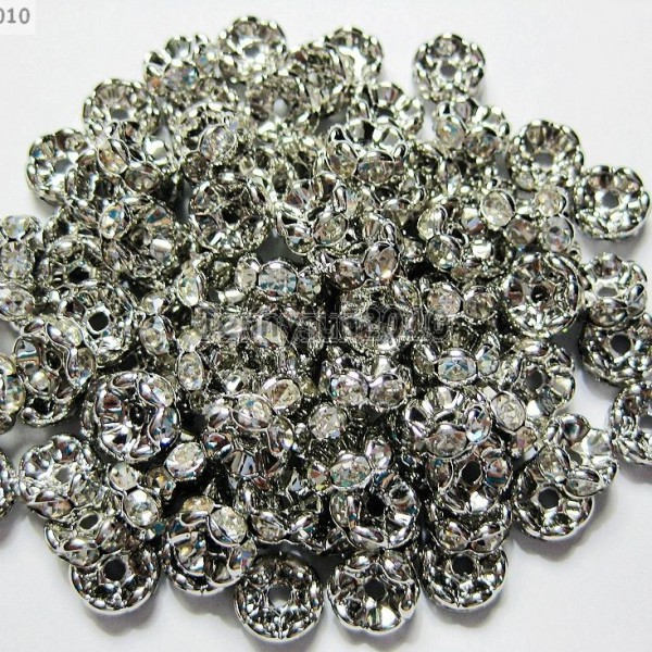 100P-Czech-Crystal-Rhinestone-Pewter-Wavy-Rondelle-Spacer-Beads-4mm-5mm-6mm-8mm-370892906337
