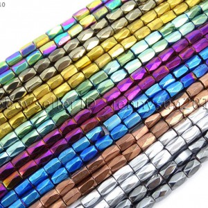 100Pcs-Natural-Magnetic-Hematite-Gemstone-Faceted-Tube-Beads-5x8mm-Metallic-370899383533