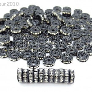 100Pcs-Quality-Czech-Crystal-Rhinestones-Rondelle-Spacers-Clear-on-Black-10mm-261017028218