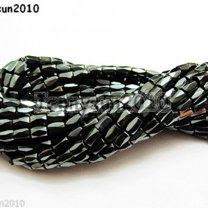 100p-Natural-Magnetic-Jet-Hematite-Gemstone-Faceted-Spacer-Tube-Beads-5mm-x-8mm-370794171733