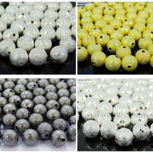 100pcs-Stardust-Round-Spacer-Beads-Silver-Gold-Gunmetal-Plated-8mm-10mm-12mm-251084339444