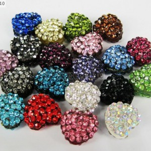 10Pcs-Crystal-Glass-Rhinestones-Pave-Flat-Heart-Bracelet-Connector-Charm-Beads-370920716184