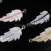 10Pcs-Curved-Side-Ways-Crystal-Rhinestones-Leaf-Bracelet-Connector-Charm-Beads-281199570414
