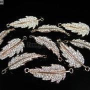 10Pcs-Curved-Side-Ways-Crystal-Rhinestones-Leaf-Bracelet-Connector-Charm-Beads-281199570414-791a