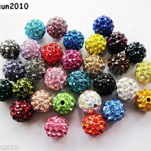 10Pcs-Czech-Crystal-Rhinestones-Pave-Clay-Half-Drilled-Disco-Round-Ball-Beads-371017953193