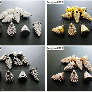 10Pcs-Rhinestones-Pave-Hip-Hop-Solid-Metal-Spike-Bracelet-Connector-Charm-Beads-261124838149