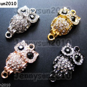 10Pcs-Side-Ways-Crystal-Rhinestones-Pave-Owl-Bracelet-Connector-Charm-Beads-281110318639