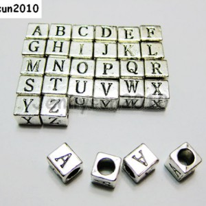 26Pcs-Alphabet-Metal-Square-Cube-Beads-6x-6mm-Antique-Silver-Plated-Pick-Letters-281882120575