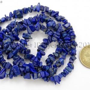 5mm-x-8mm-Natural-Lapis-Lazuli-Gemstone-Chip-Nugget-Loose-Beads-35-Strand-370816439198