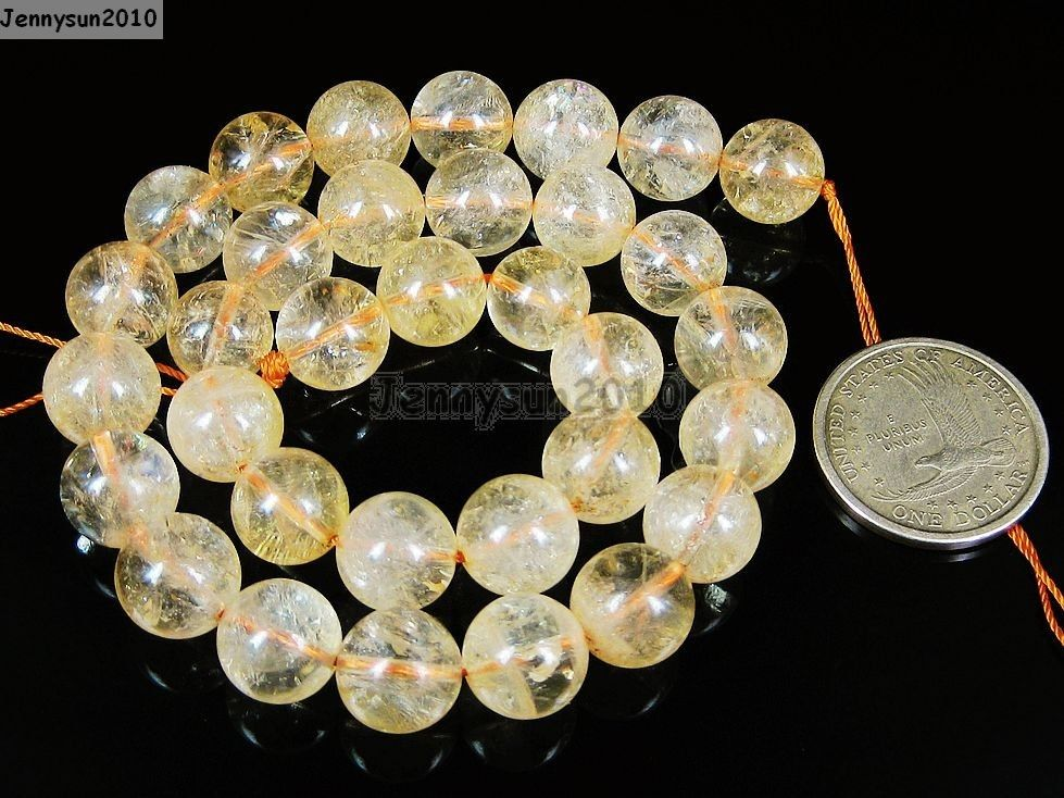 Aaa Natural Citrine Gemstone Round Loose Beads 16 Strand