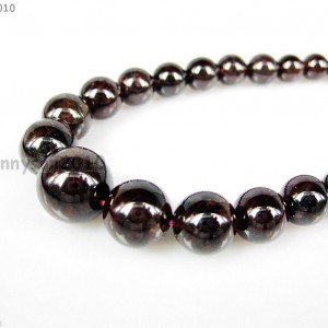 AAA-Natural-Garnet-Gemstone-412mm-Graduated-Round-Beads-Necklace-17-Inches-371330064821