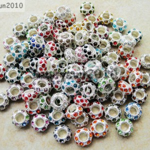 Big-Hole-Crystal-Rhinestone-Pave-Silver-Rondelle-Spacer-Beads-Fit-European-Charm-261220786673