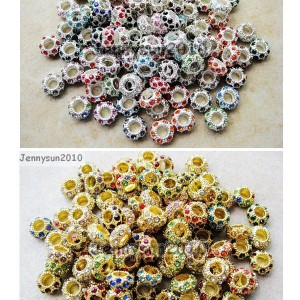Big-Hole-Czech-Crystal-Rhinestone-Pave-Rondelle-Spacer-Beads-Fit-European-Charms-261235093323