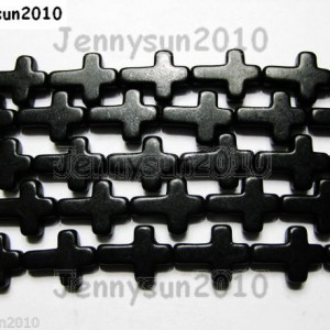 Black-Howlite-Turquoise-Side-Ways-Crosses-Spacer-Beads-12mm-x-16mm-16-261181186496