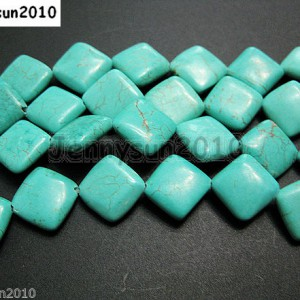 Blue-Howlite-Turquoise-12mm-Diagonal-Flat-Square-Loose-Spacer-Beads-16-Strand-251125414458