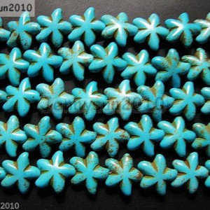 Blue-Howlite-Turquoise-Gemstone-22mm-Starfish-Spacer-Loose-Beads-16-Strand-370862728391