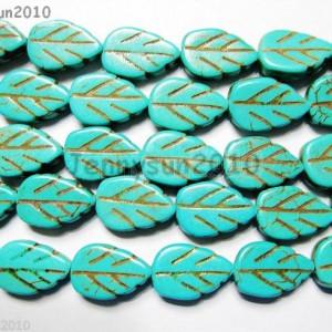 Blue-Howlite-Turquoise-Gemstone-Side-Ways-Lovely-Leaf-Loose-Beads-16-Strand-261243356112