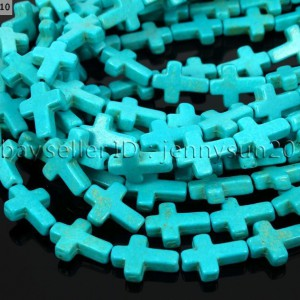 Blue-Howlite-Turquoise-Side-Ways-Crosses-Spacer-Beads-12mm-x-16mm-16-Strand-261099508755