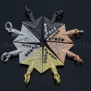 Clear-Black-Zircon-Gemstones-Pave-Triangle-Arrowhead-Pendant-Charm-Beads-262897503867-2