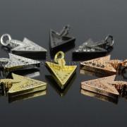 Clear-Black-Zircon-Gemstones-Pave-Triangle-Arrowhead-Pendant-Charm-Beads-262897503867-5