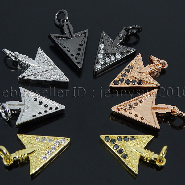 Clear-Black-Zircon-Gemstones-Pave-Triangle-Arrowhead-Pendant-Charm-Beads-262897503867