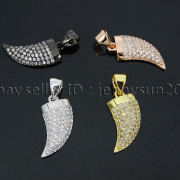 Clear-Zircon-Gemstone-Pave-Horn-Tusk-Tooth-Spike-Pendant-Charm-Beads-Silver-Gold-262799996677-3