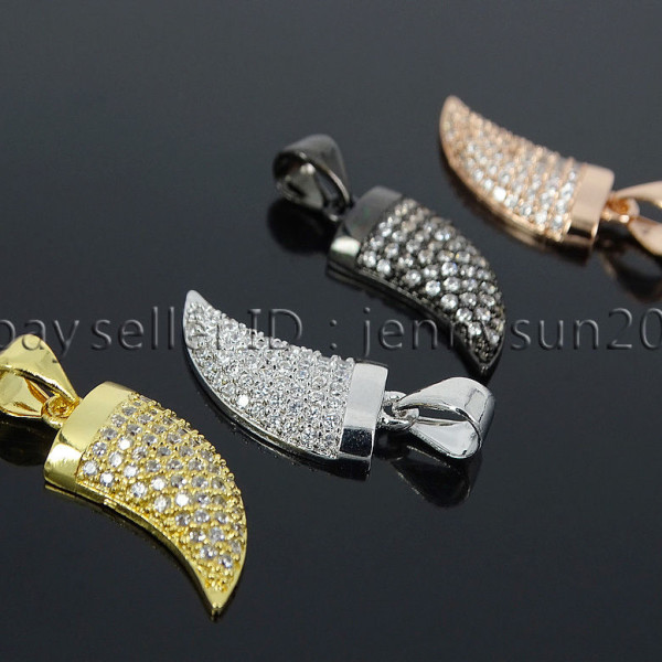 Clear-Zircon-Gemstone-Pave-Horn-Tusk-Tooth-Spike-Pendant-Charm-Beads-Silver-Gold-262799996677