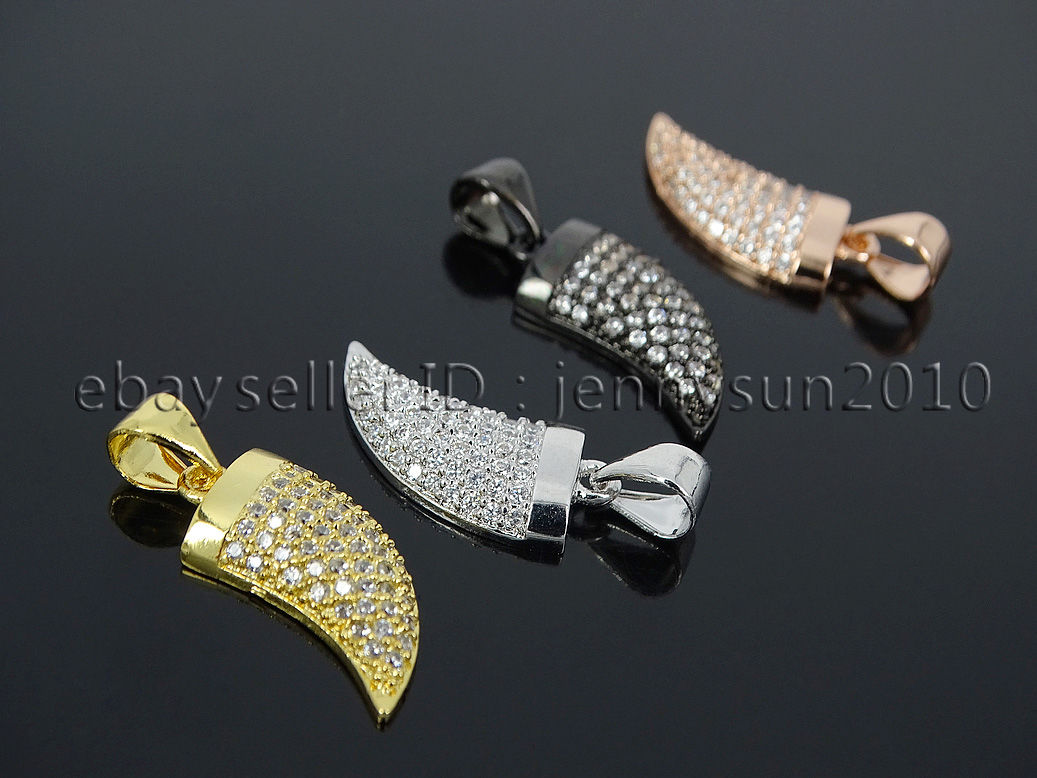 Large Tusk Shape Pendant Agate Horn Pave Pendant Zircon Pave Necklace Pendant