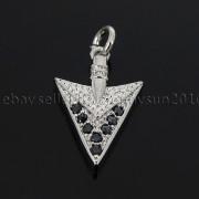 Clear-amp-Black-Zircon-Gemstones-Pave-Triangle-Arrowhead-Pendant-Charm-Beads-262897503867-4fbc