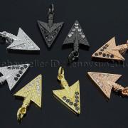 Clear-amp-Black-Zircon-Gemstones-Pave-Triangle-Arrowhead-Pendant-Charm-Beads-262897503867-6313