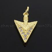 Clear-amp-Black-Zircon-Gemstones-Pave-Triangle-Arrowhead-Pendant-Charm-Beads-262897503867-7b05