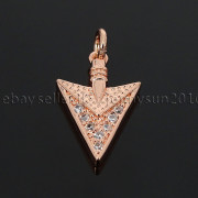 Clear-amp-Black-Zircon-Gemstones-Pave-Triangle-Arrowhead-Pendant-Charm-Beads-262897503867-a10f
