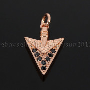 Clear-amp-Black-Zircon-Gemstones-Pave-Triangle-Arrowhead-Pendant-Charm-Beads-262897503867-b2bc