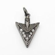 Clear-amp-Black-Zircon-Gemstones-Pave-Triangle-Arrowhead-Pendant-Charm-Beads-262897503867-b708
