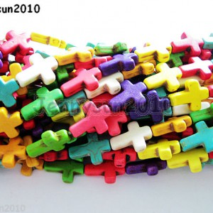 Cute-Little-Mix-Color-Howlite-Turquoise-Side-Ways-Crosses-Beads-8mm-x-10mm-16-370850426553