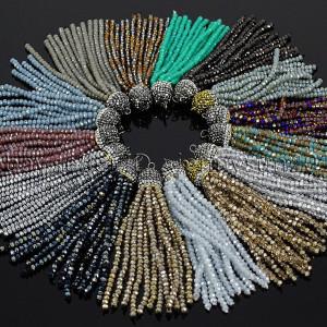 Czech-Crystal-3mm-Rondelle-Beads-Tassel-Trim-Applique-Jewelry-Design-Pendant-8CM-282053335784
