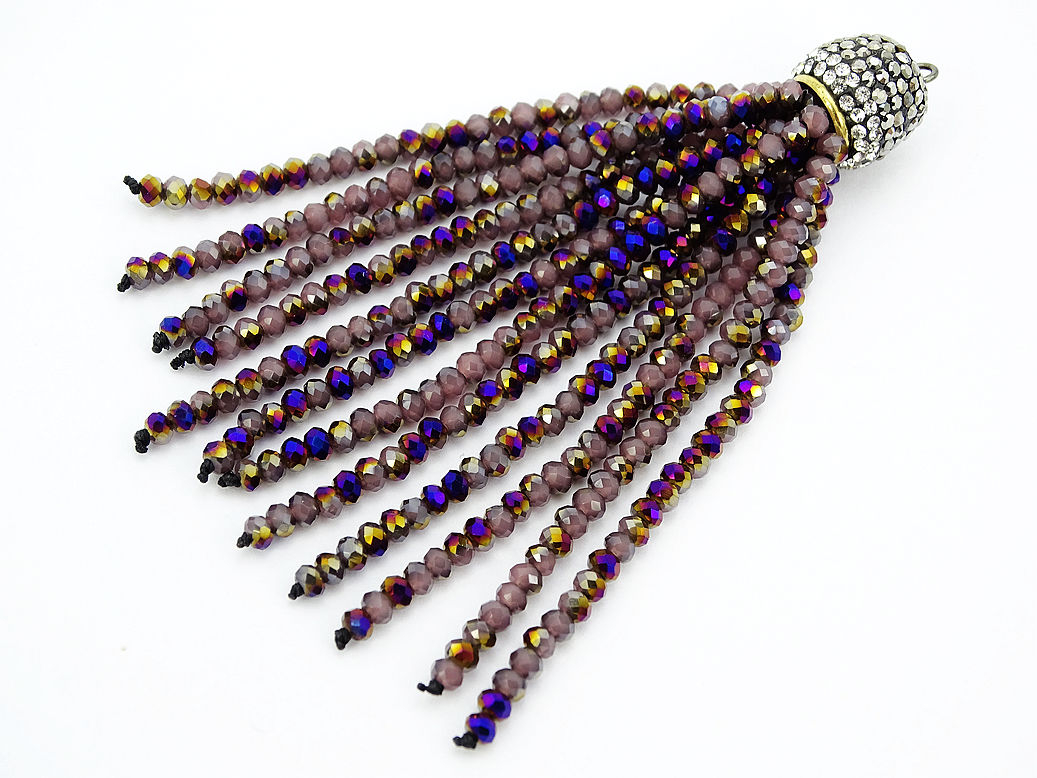 Czech Crystal 3mm Rondelle Beads Tassel Trim Applique