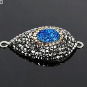 Druzy-Quartz-Gemstone-Crystal-Rhinestone-Connector-Charm-Bead-Silver-Plated-New-261590726280-16d8