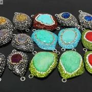 Druzy-Quartz-Gemstone-Crystal-Rhinestone-Connector-Charm-Bead-Silver-Plated-New-261590726280