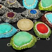 Druzy-Quartz-Gemstone-Crystal-Rhinestone-Connector-Charm-Bead-Silver-Plated-New-261590726280-2