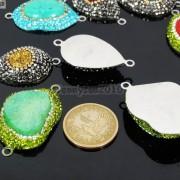 Druzy-Quartz-Gemstone-Crystal-Rhinestone-Connector-Charm-Bead-Silver-Plated-New-261590726280-3