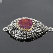 Druzy-Quartz-Gemstone-Crystal-Rhinestone-Connector-Charm-Bead-Silver-Plated-New-261590726280-33a0