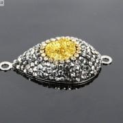 Druzy-Quartz-Gemstone-Crystal-Rhinestone-Connector-Charm-Bead-Silver-Plated-New-261590726280-6085