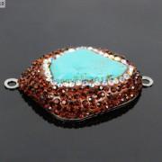 Druzy-Quartz-Gemstone-Crystal-Rhinestone-Connector-Charm-Bead-Silver-Plated-New-261590726280-85b9