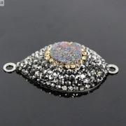 Druzy-Quartz-Gemstone-Crystal-Rhinestone-Connector-Charm-Bead-Silver-Plated-New-261590726280-c17a